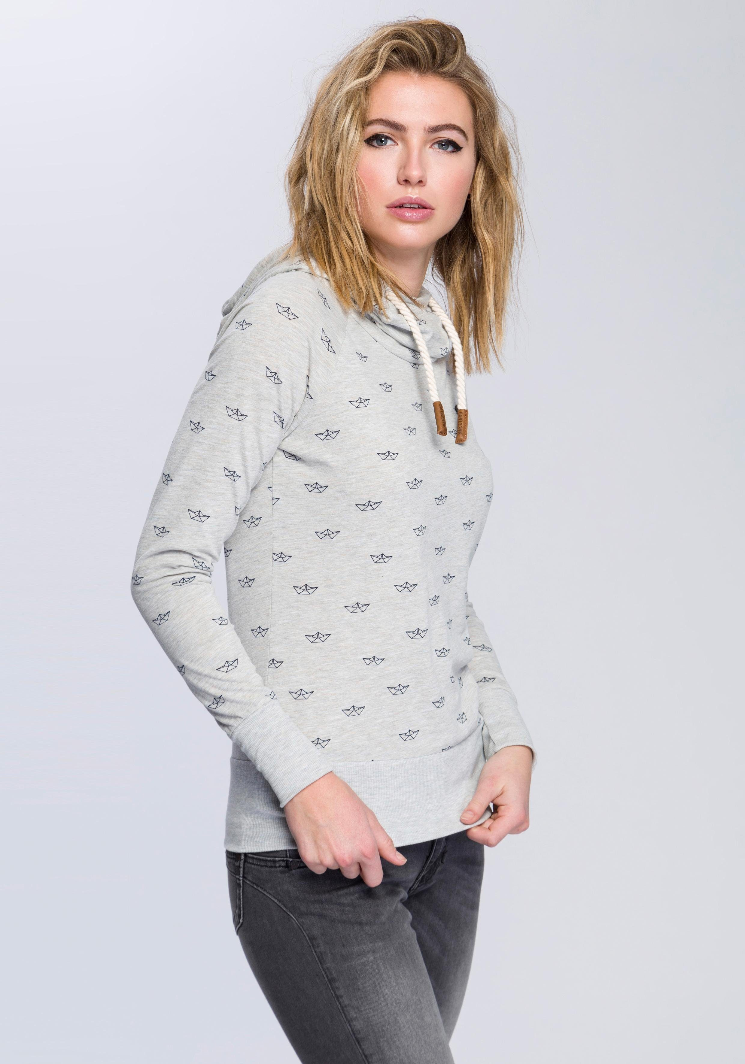 naketano Kapuzensweatshirt »Klatschemietze« mit Print und Rippbündchen