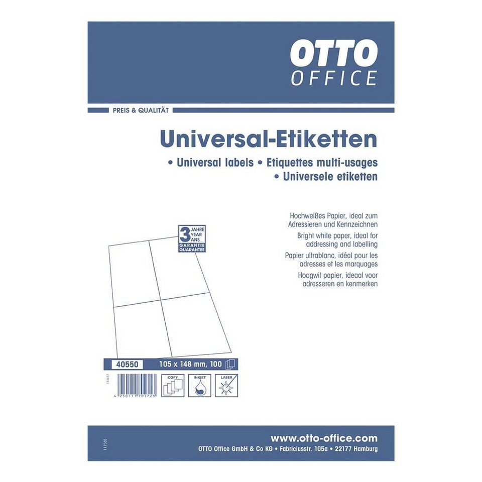 otto office standard 400er pack universal klebeetiketten. Black Bedroom Furniture Sets. Home Design Ideas