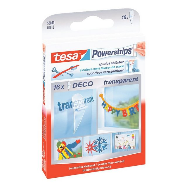 Tesa Powerstrips Deco Transparent 16 Stück