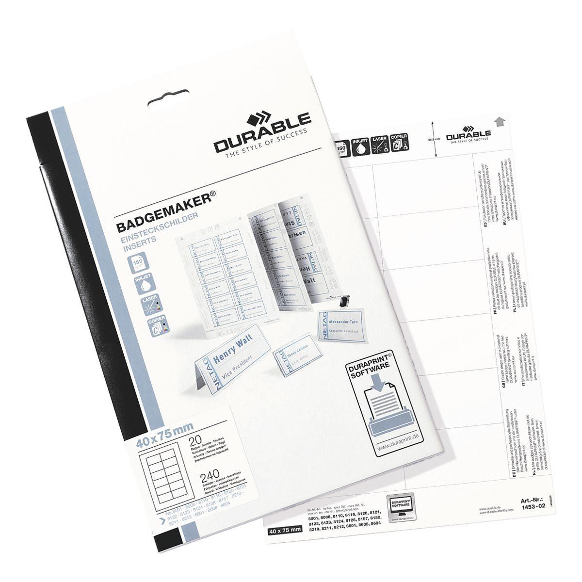 Durable Einsteckschilder 75x40 mm »145302«