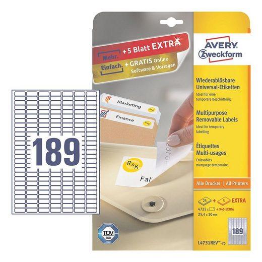 ZWECKFORMAVERY 5670er-Pack Universal Klebeetiketten »L4731REV-25«
