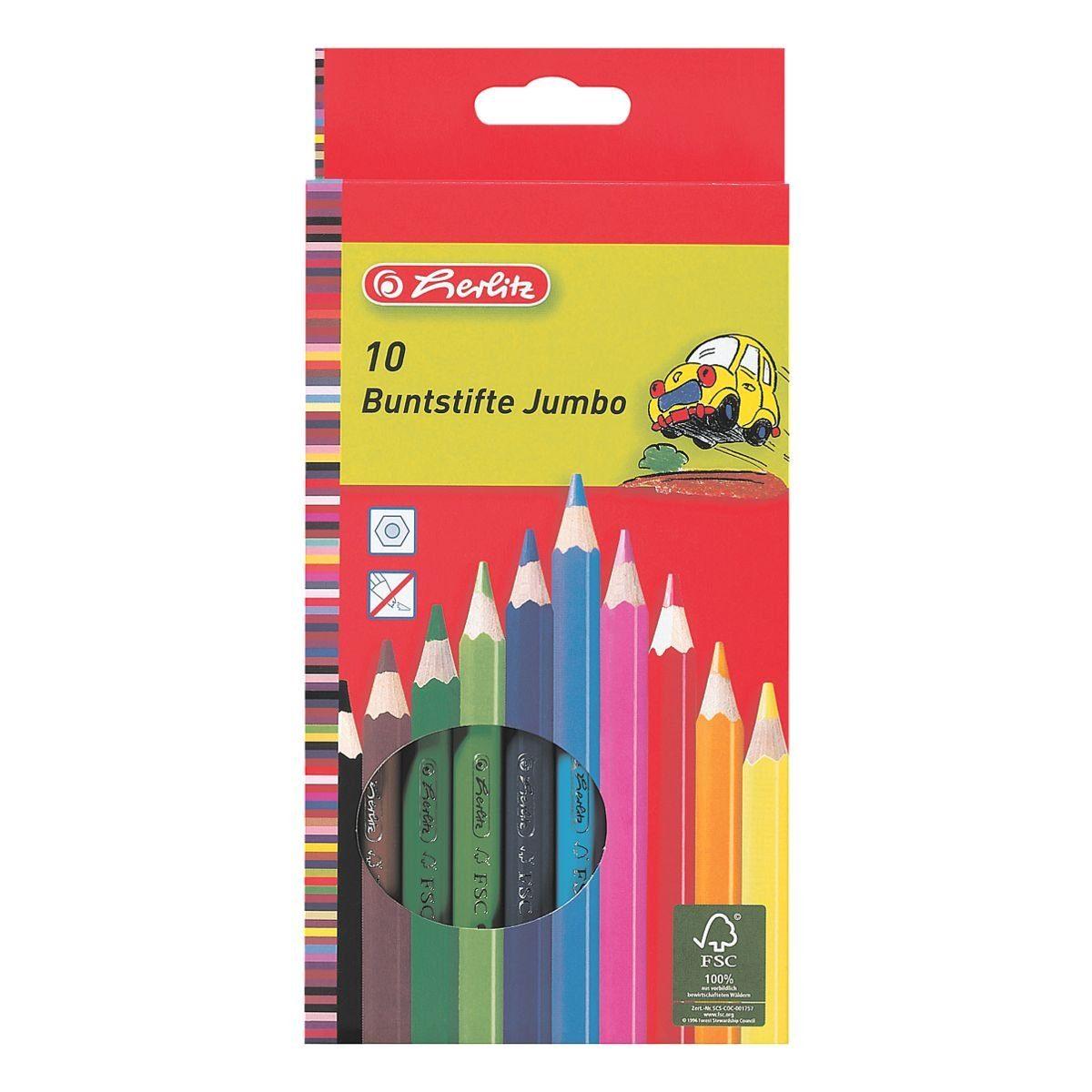 Herlitz 10er-Pack Holz-Buntstifte »Jumbo«