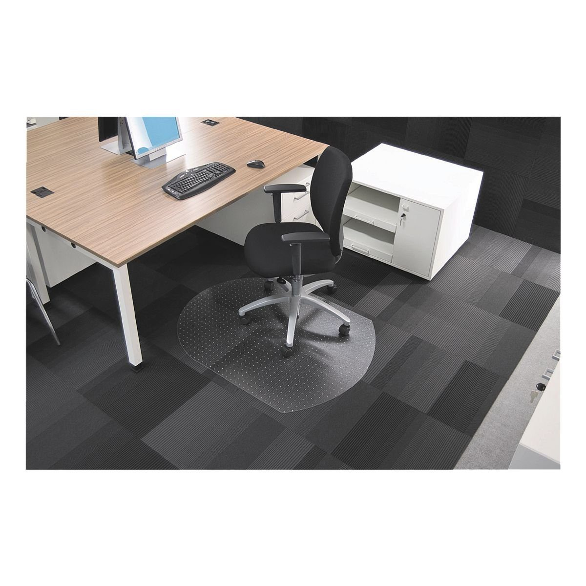 RS Office Products Bodenschutzmatte 120x90 cm Form T für niederflorigen Tep... »Rollsafe«