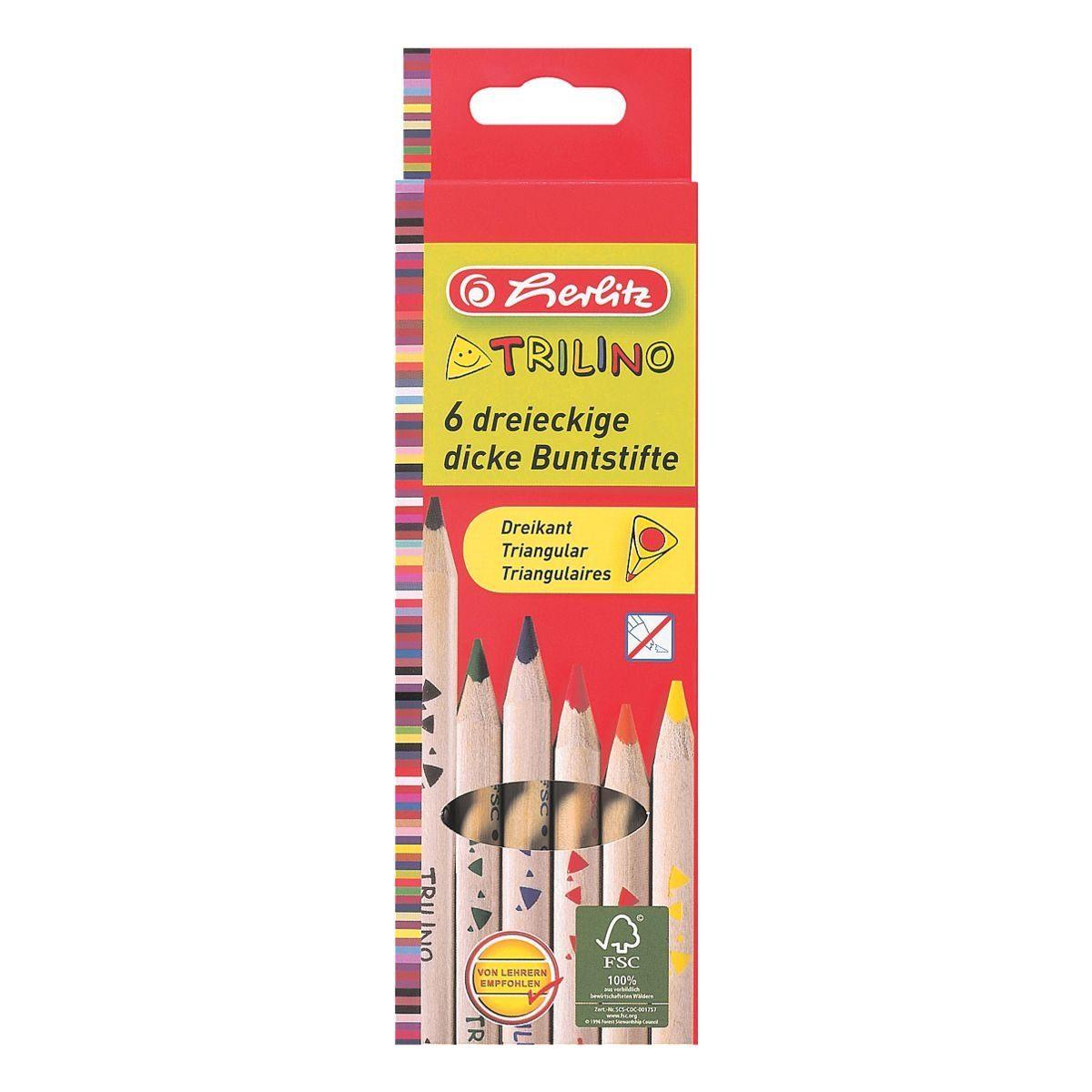 Herlitz 6er-Pack Holz-Buntstifte »Trilino«