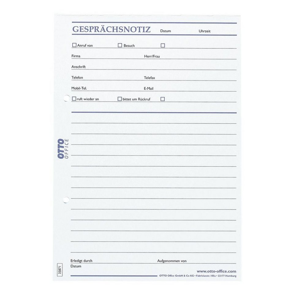OTTO Office Standard Formularvordrucke »Gesprächsnotiz«