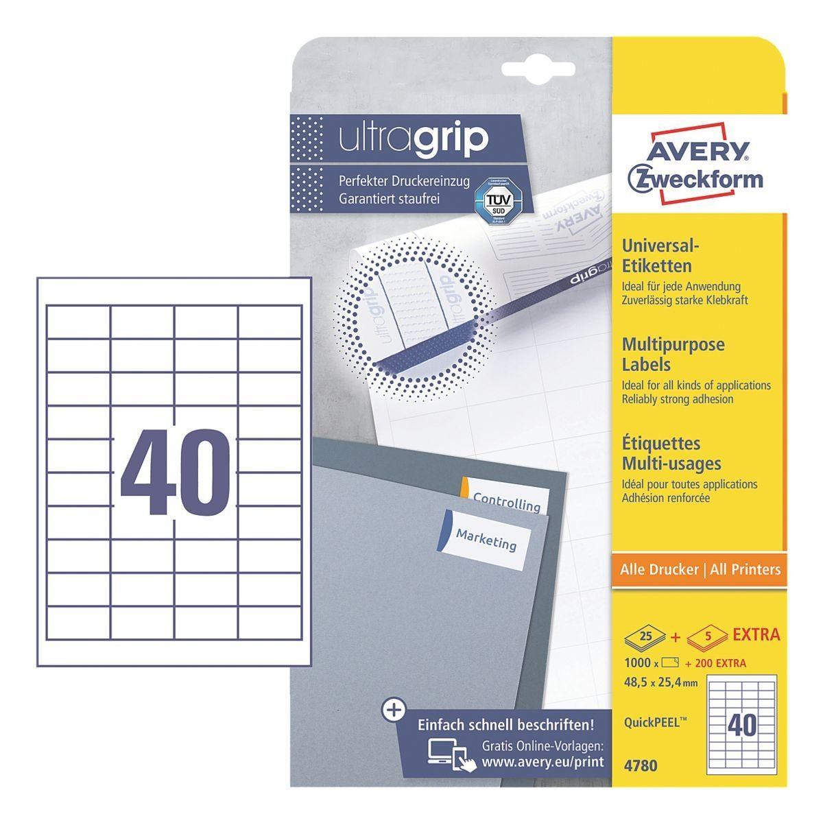 Avery Zweckform 1000er-Pack Universal Klebeetiketten »4780«