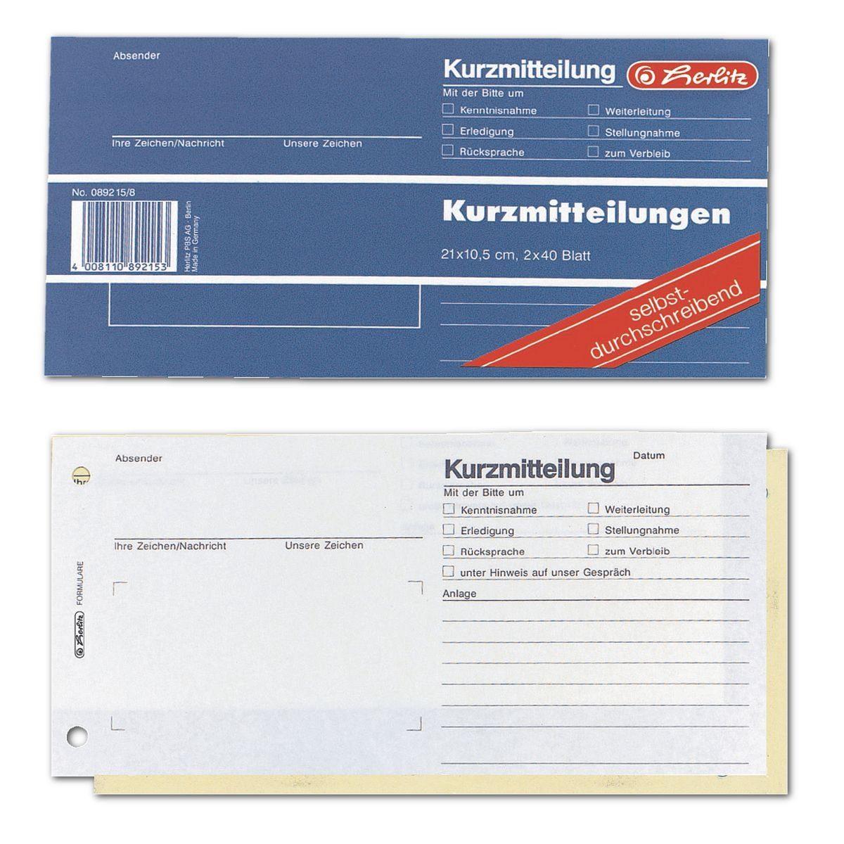 Herlitz Formularbuch »Kurzmitteilung«