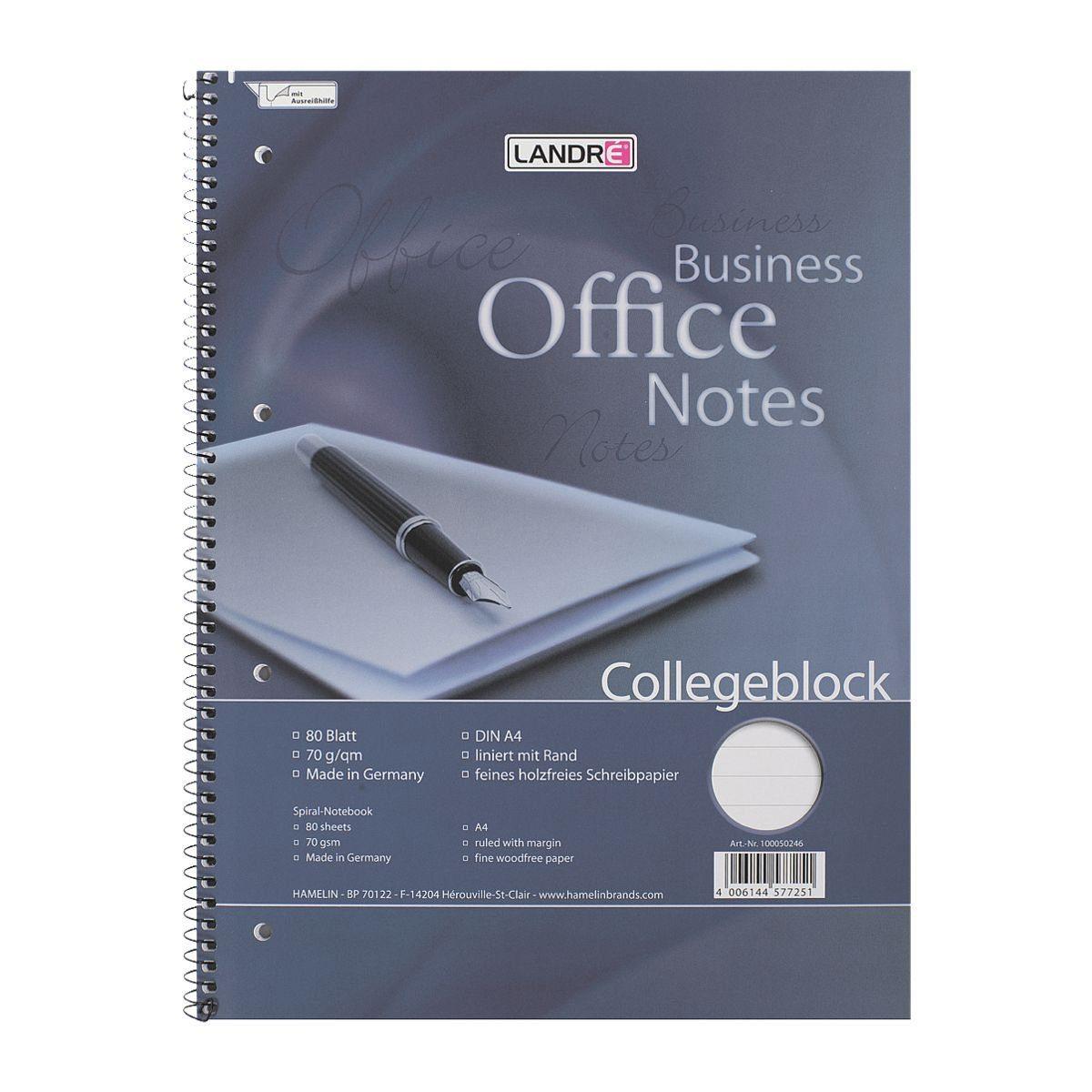 LANDRE Collegeblock 100050246 A4 liniert, holzfreies Schreibpapier »Work«