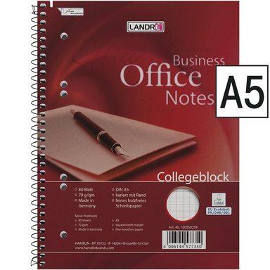LANDRE Collegeblock 100050259 A5 kariert, holzfreies Schreibpapier »Work«