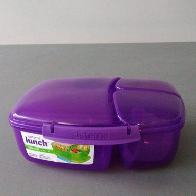 sistema Große Lunchbox Triple Split mit Joghurt Behälter, lila