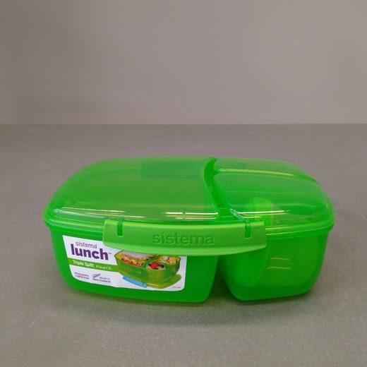 sistema Große Lunchbox Triple Split mit Joghurt Behälter, grün
