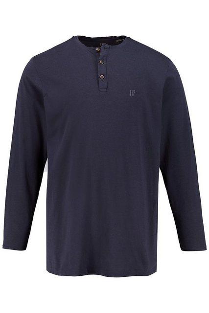 jp1880 -  T-Shirt bis 8XL, Langarm-Shirt, Henley, Oberteil mit Knopfleiste, Rundhalsausschnitt, reine Baumwolle