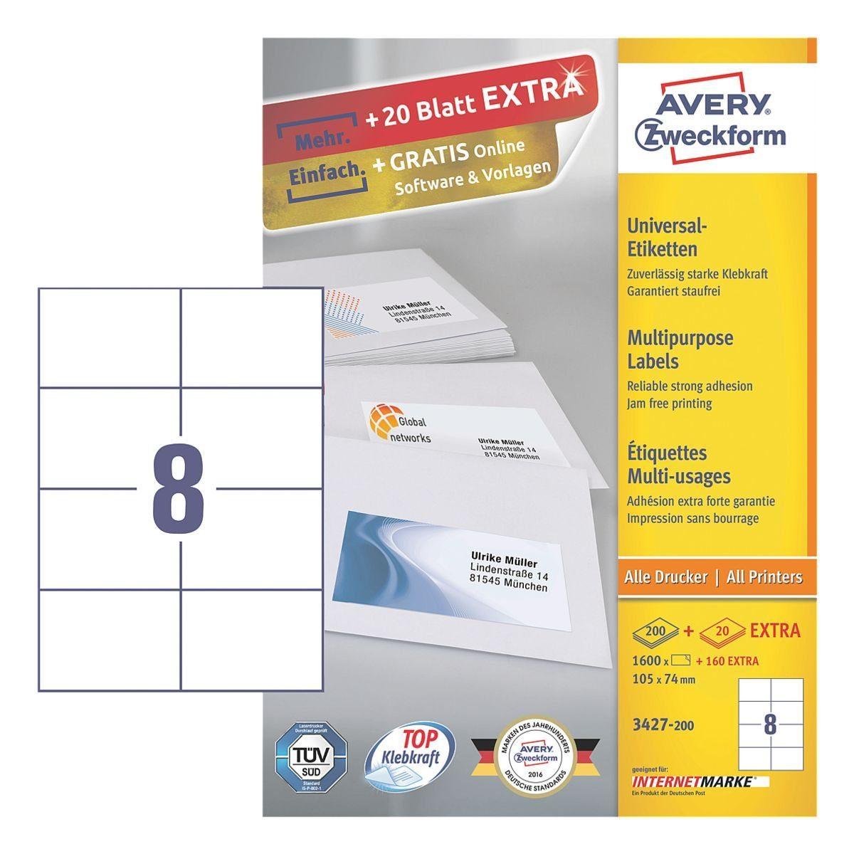 Avery Zweckform 1600er-Pack Universal Klebeetiketten »3427-200«