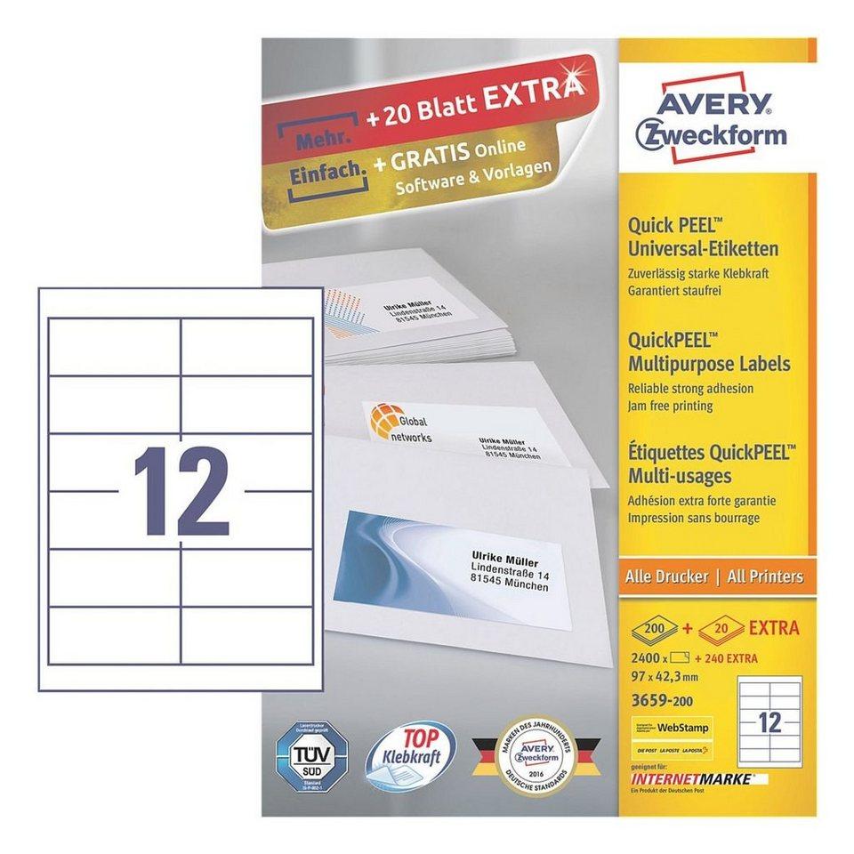 Avery Zweckform 2400er-Pack Universal Klebeetiketten »3659-200«