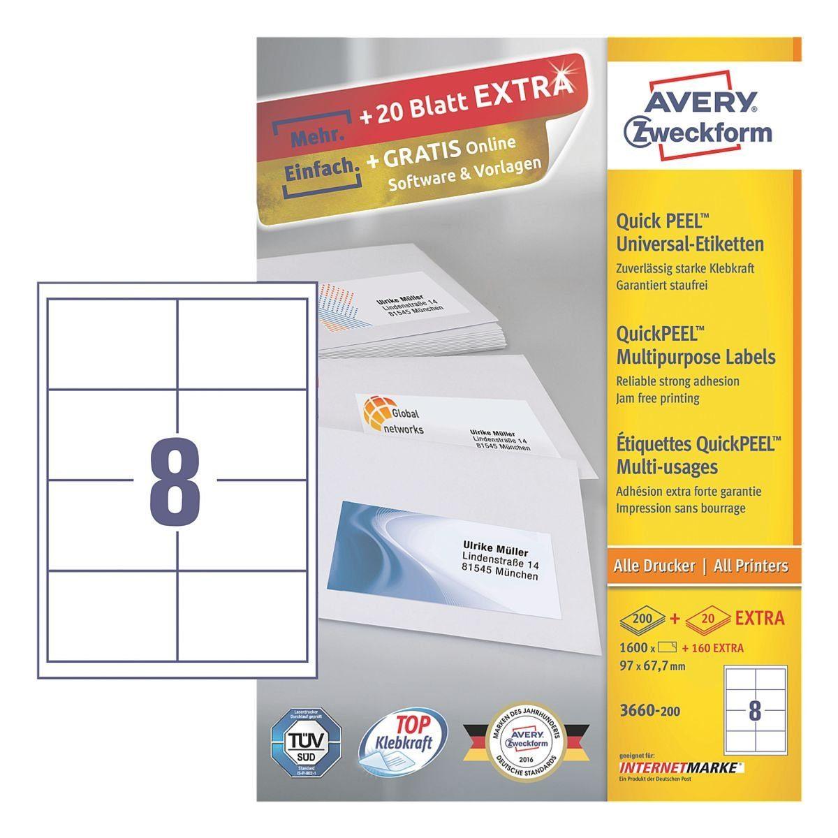 Avery Zweckform 1600er-Pack Universal Klebeetiketten »3660-200«