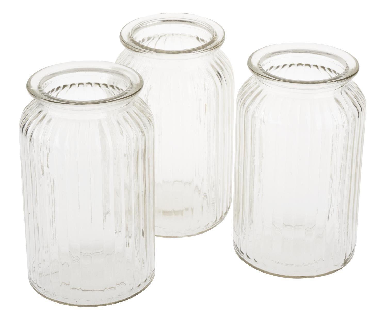 """VBS Vase mit Rillen """"Homeland"""" 18 cm hoch, 3 Stück"""