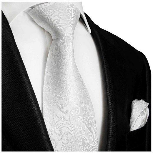 Paul Malone Krawatte »Herren Seidenkrawatte mit Tuch modern Hochzeit floral 100% Seide« (Set, 2-St., Krawatte mit Einstecktuch) Schmal (6cm), weiß 946
