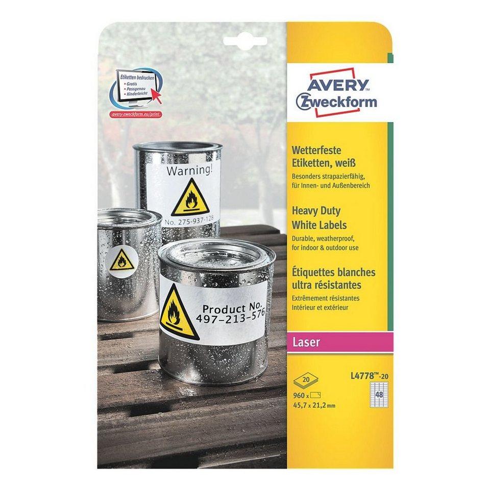 Avery Zweckform 960er-Pack Folien-Etiketten in weiß