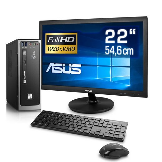 "CSL Silent Mini PC Set - lautlos, WLAN, 4GB RAM »Ultra Silent PC J4105-2, 22"" TFT, Windows 10«"