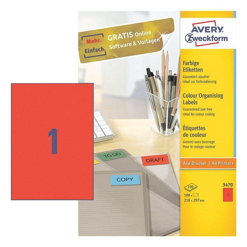 Avery Zweckform 100er-Pack Farbige Etiketten in rot