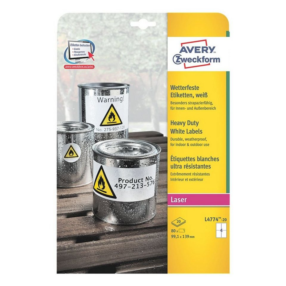 Avery Zweckform 80er-Pack Folien-Etiketten »L4774-20«