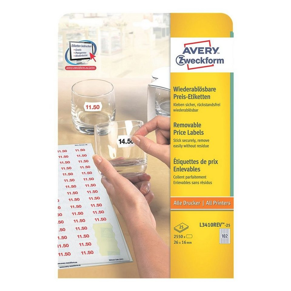 Avery Zweckform 2550er-Pack Universal Klebeetiketten »L3410REV-25«