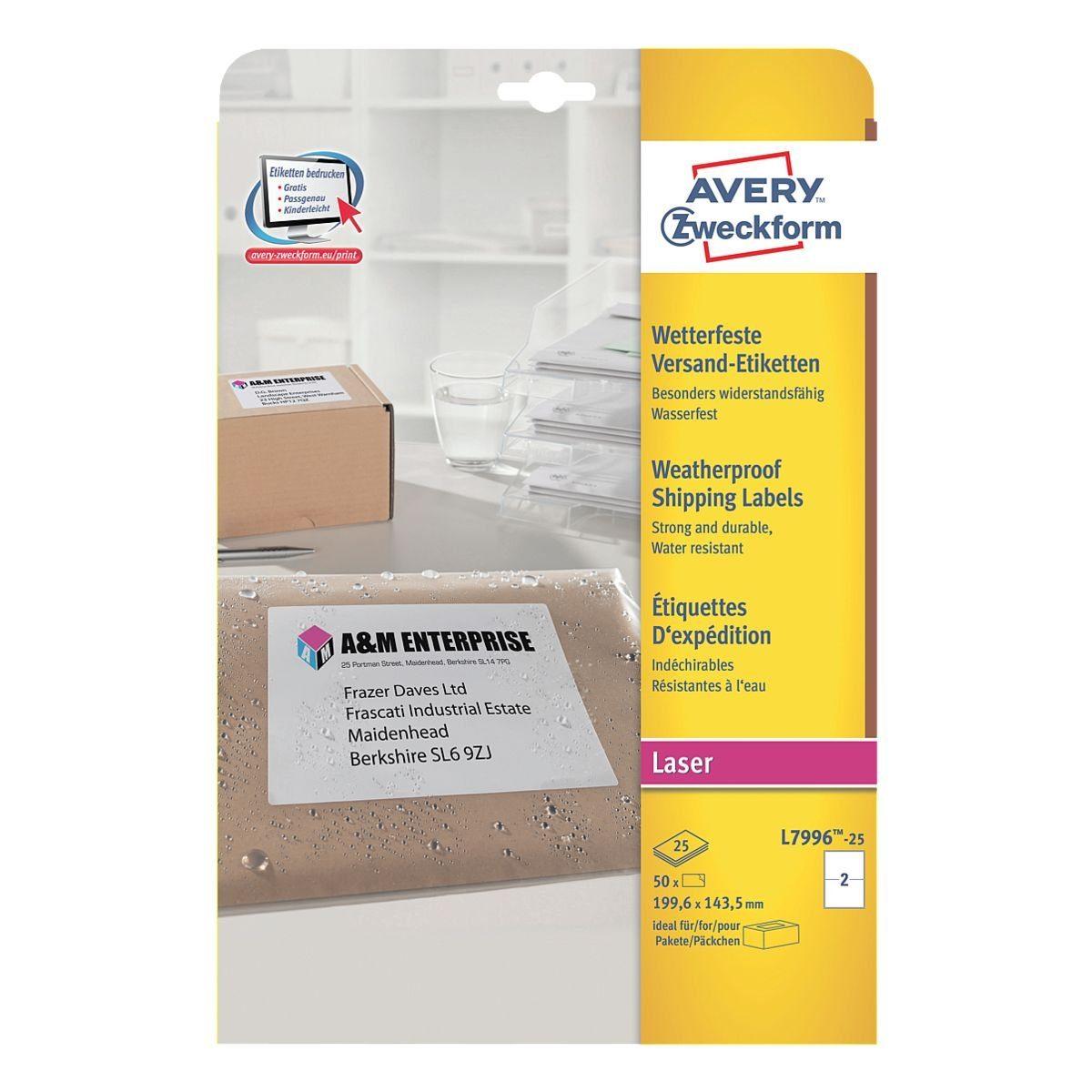 Avery Zweckform 50er-Pack Adressaufkleber »L7996-25«