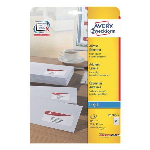 ZWECKFORMAVERY 525er-Pack Adressaufkleber »J8160-25«