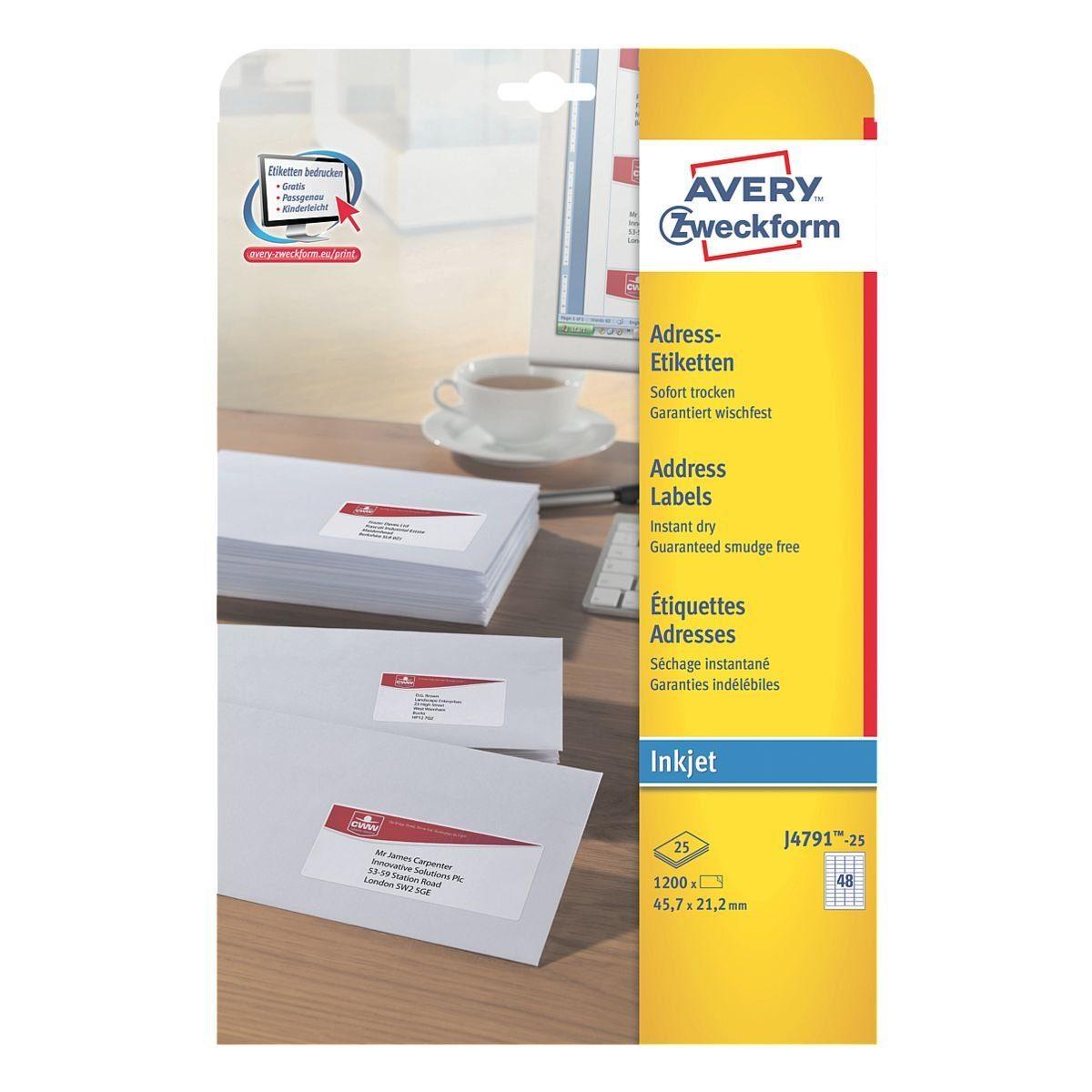 Avery Zweckform 1200er-Pack Adressaufkleber »J4791-25«