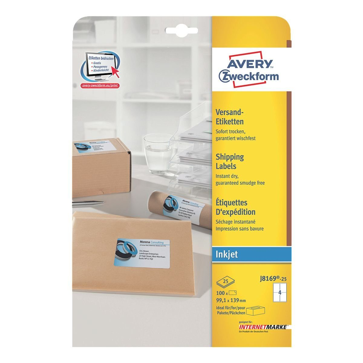Avery Zweckform 100er-Pack Adressaufkleber »J8169-25«