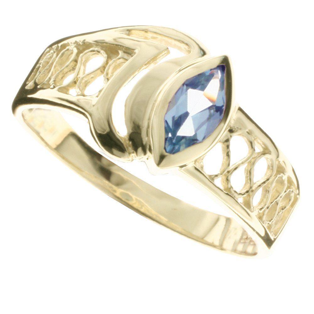 OSTSEE-SCHMUCK Fingerring »Anisia Gold 333/000 Blautopas«