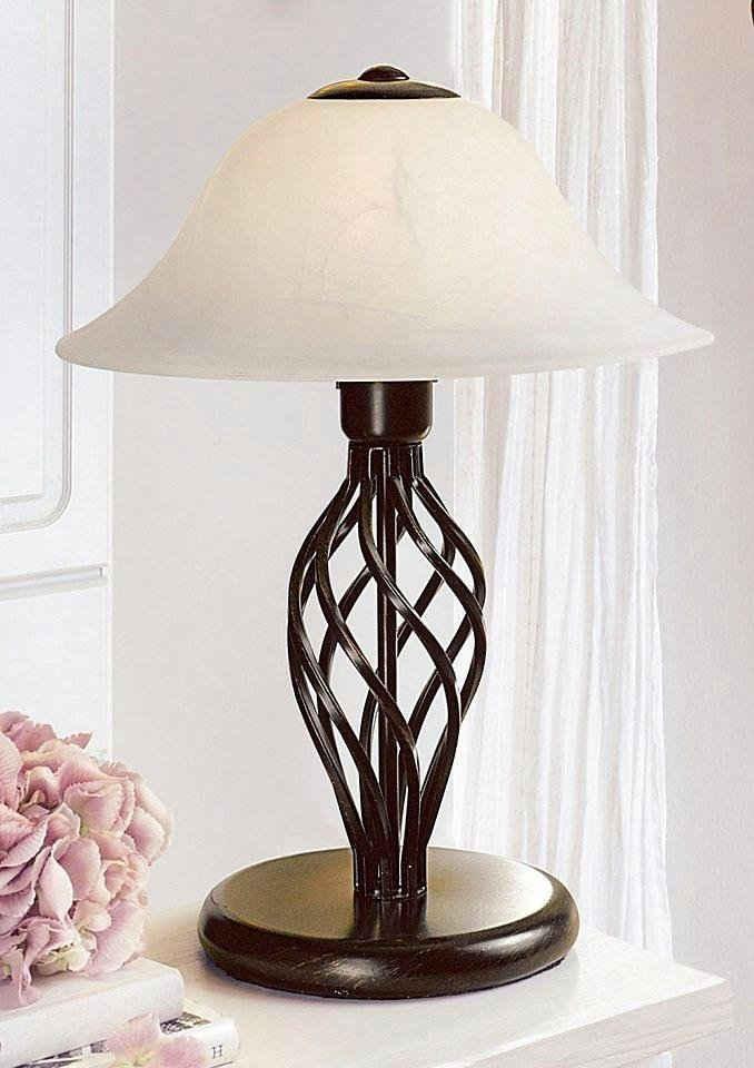 Home affaire Tischleuchte »Rudi«, Tischlampe 40 cm im Landhaus-Stil, hochwertiger Glasschirm