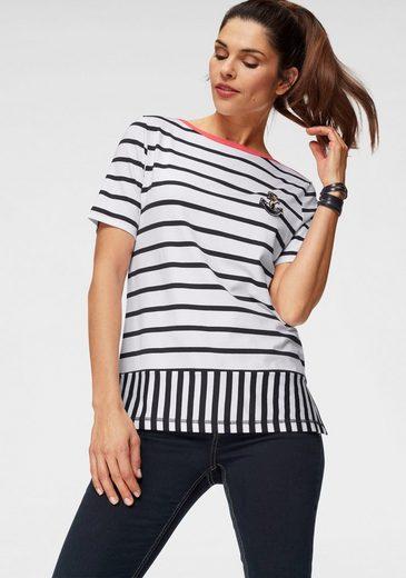 Clarina T-Shirt mit tollem Streifen-Mix und Anker-Applikation