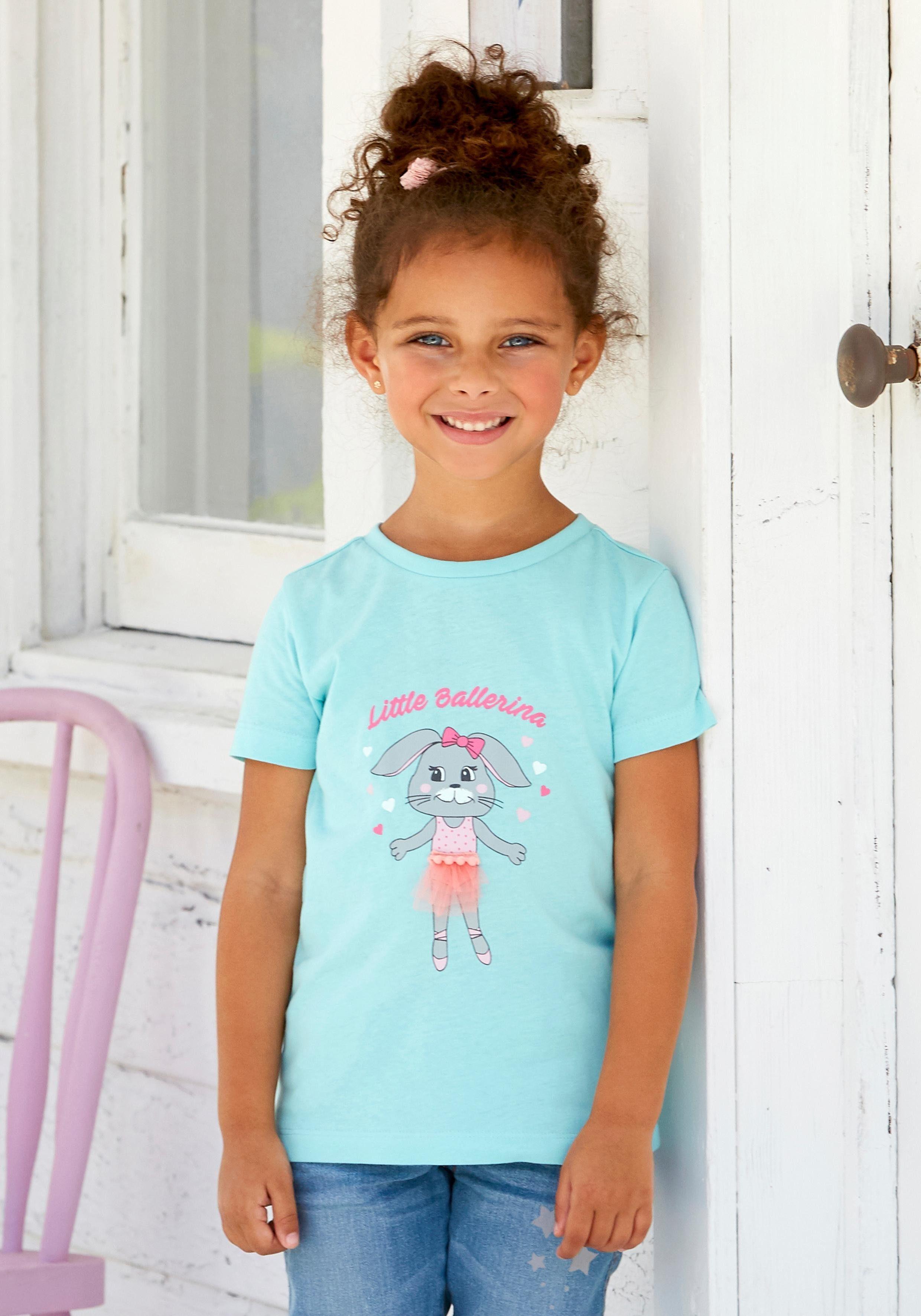 Arizona T-Shirt »Little Ballerina« mit Häschen-Druck und Tülldetail