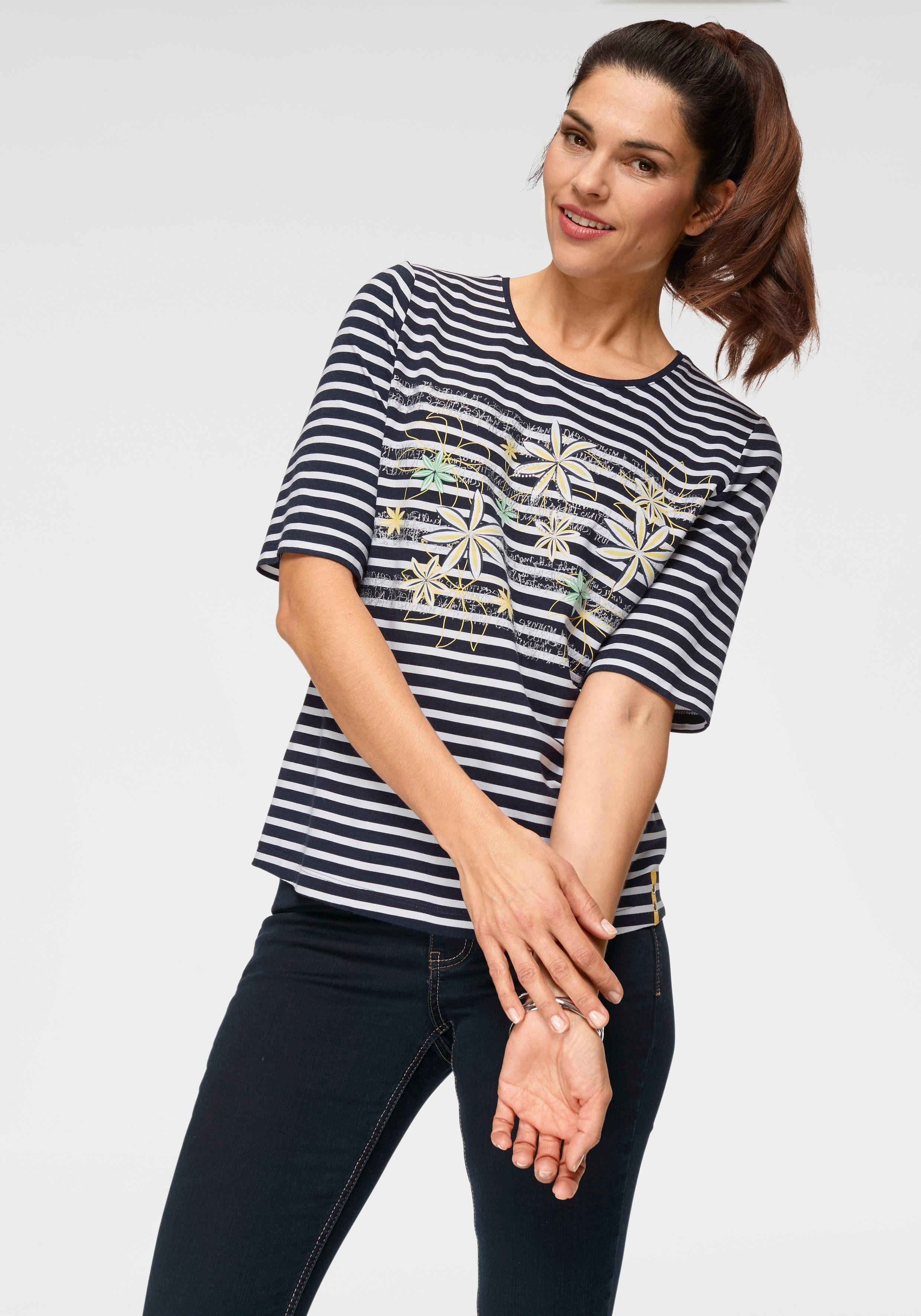 Rabe Print-Shirt mit Streifen, Blumen- und Glitzer-Print