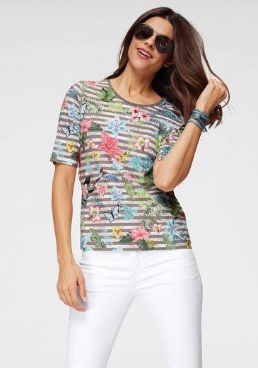 Rabe Print-Shirt gestreift mit tropischem Allover-Print