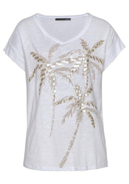 LeComte Print-Shirt Mit Palmen-Druck und Pailletten | Bekleidung > Shirts > Print-Shirts | LeComte