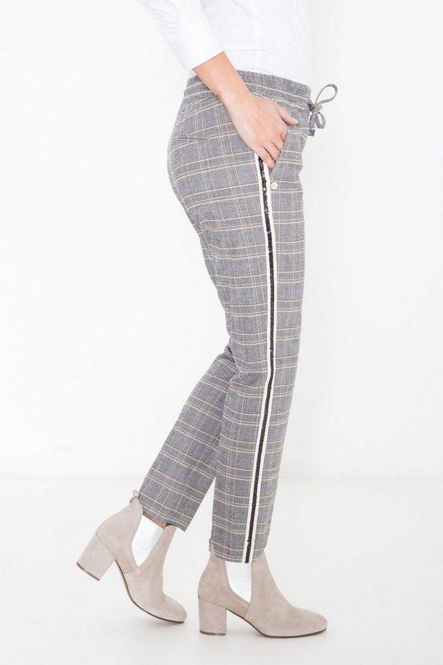 Damen ATT Jeans Jogginghose in Karo-Optik grau | 04251484677301