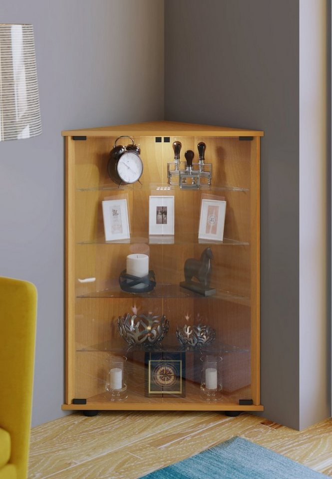 VCM Eckvitrine ´´Jecka´´ | Wohnzimmer > Vitrinen > Eckvitrinen | Orange | Sicherheitsglas - Holz - Nachbildung | VCM