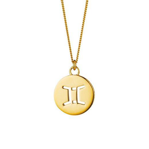 CAÏ Halskette »Zwilling Sternzeichen 925/- Sterling Silber vergol«