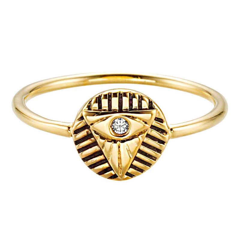 CAÏ Fingerring »925/- Sterling Silber vergoldet Zirkonia«, Ring