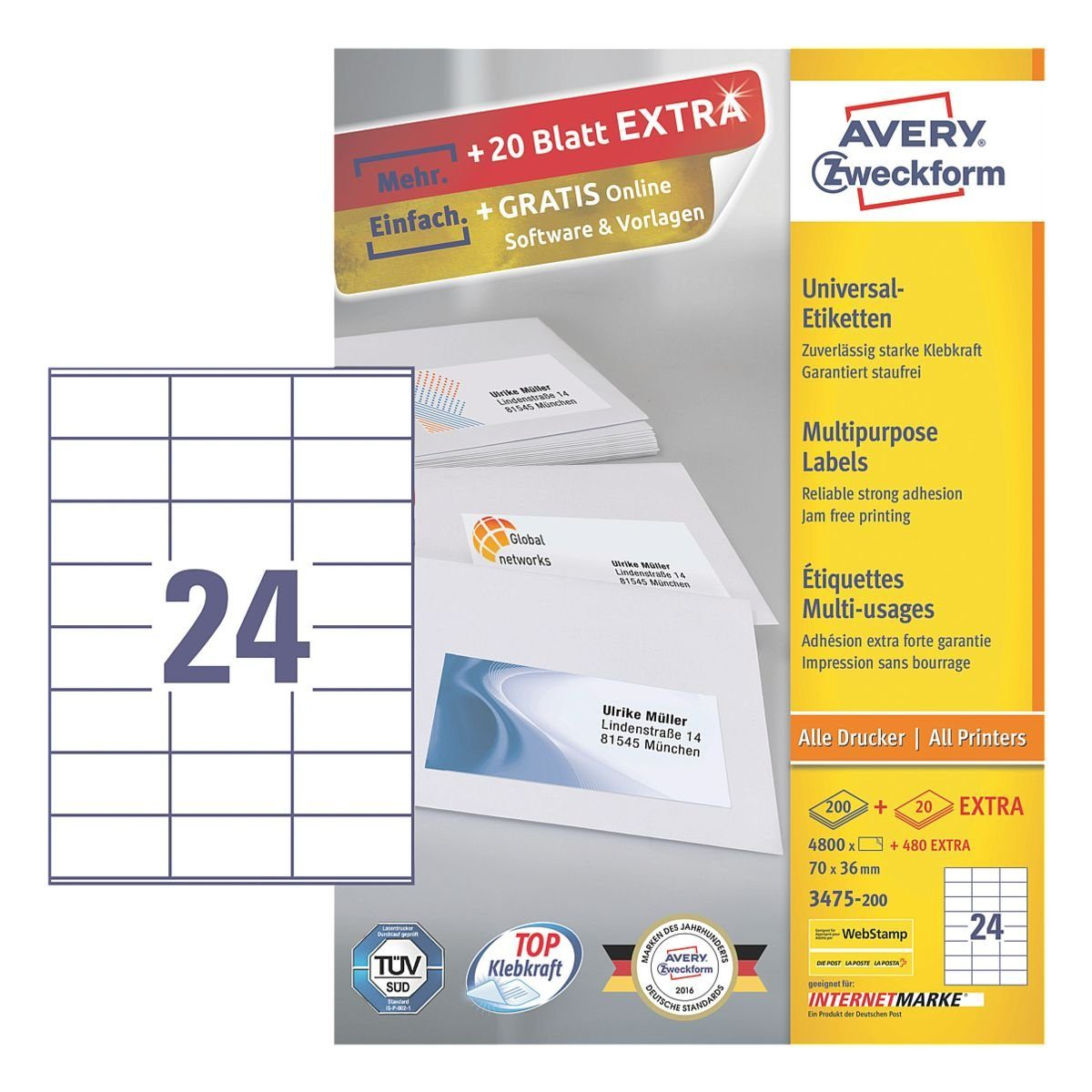Avery Zweckform 4800er-Pack Universal Klebeetiketten »3475-200«