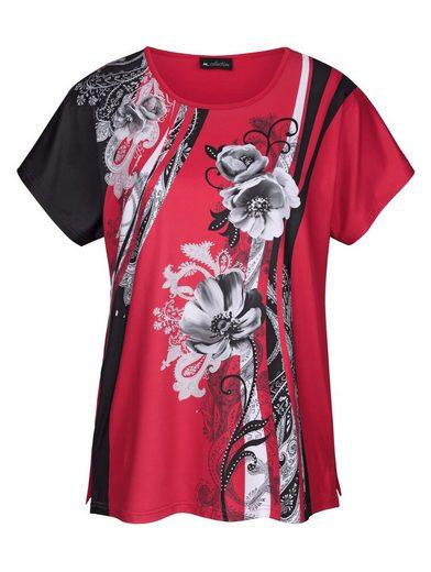 m. collection Shirt mit edlem, floralem Druckmotiv