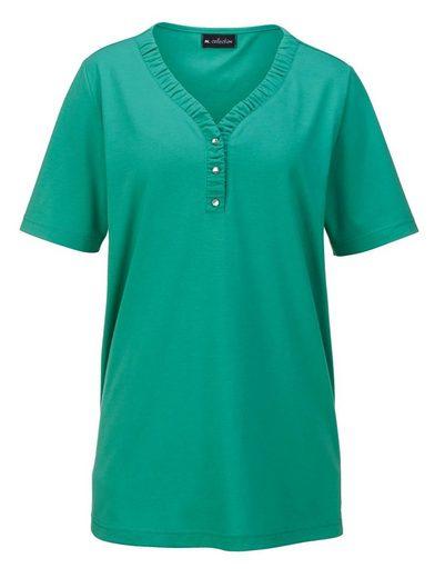 m. collection Shirt mit aktueller Raffverarbeitung am Ausschnitt