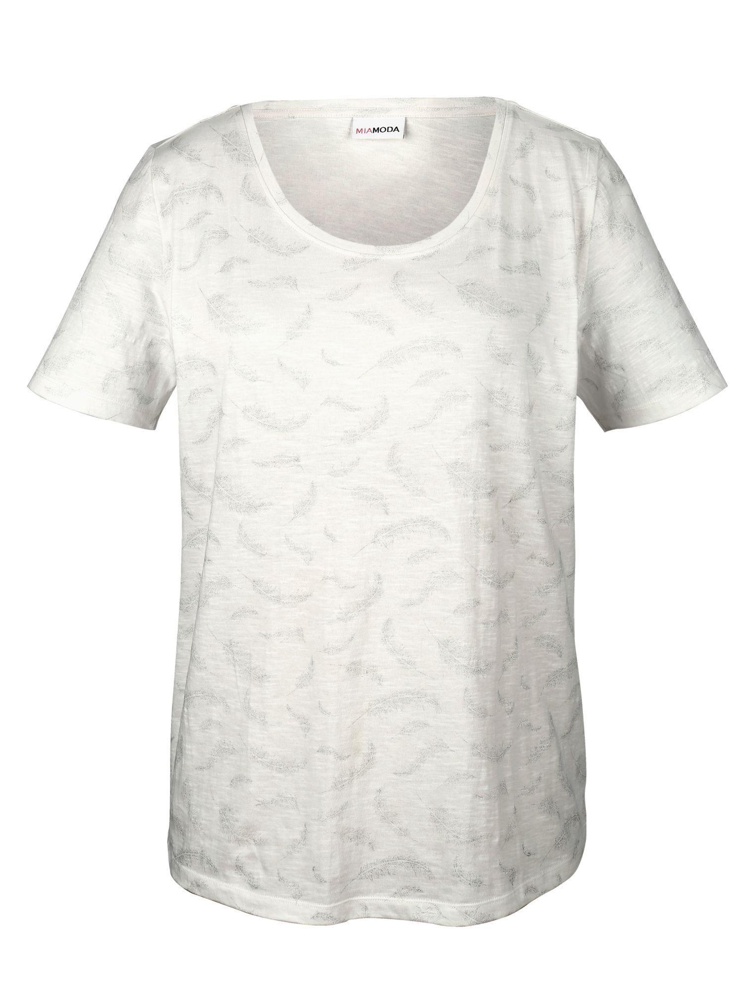 MIAMODA Shirt mit glitzerndem Federdruck-Muster rundum