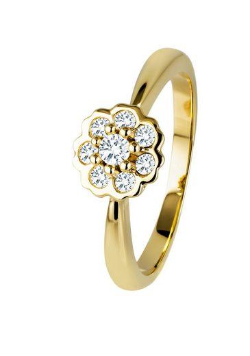 Diamond Line Ring mit 8 zarten Diamanten