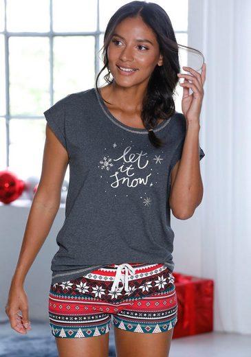 LASCANA Shorty mit weihnachtlichem Muster