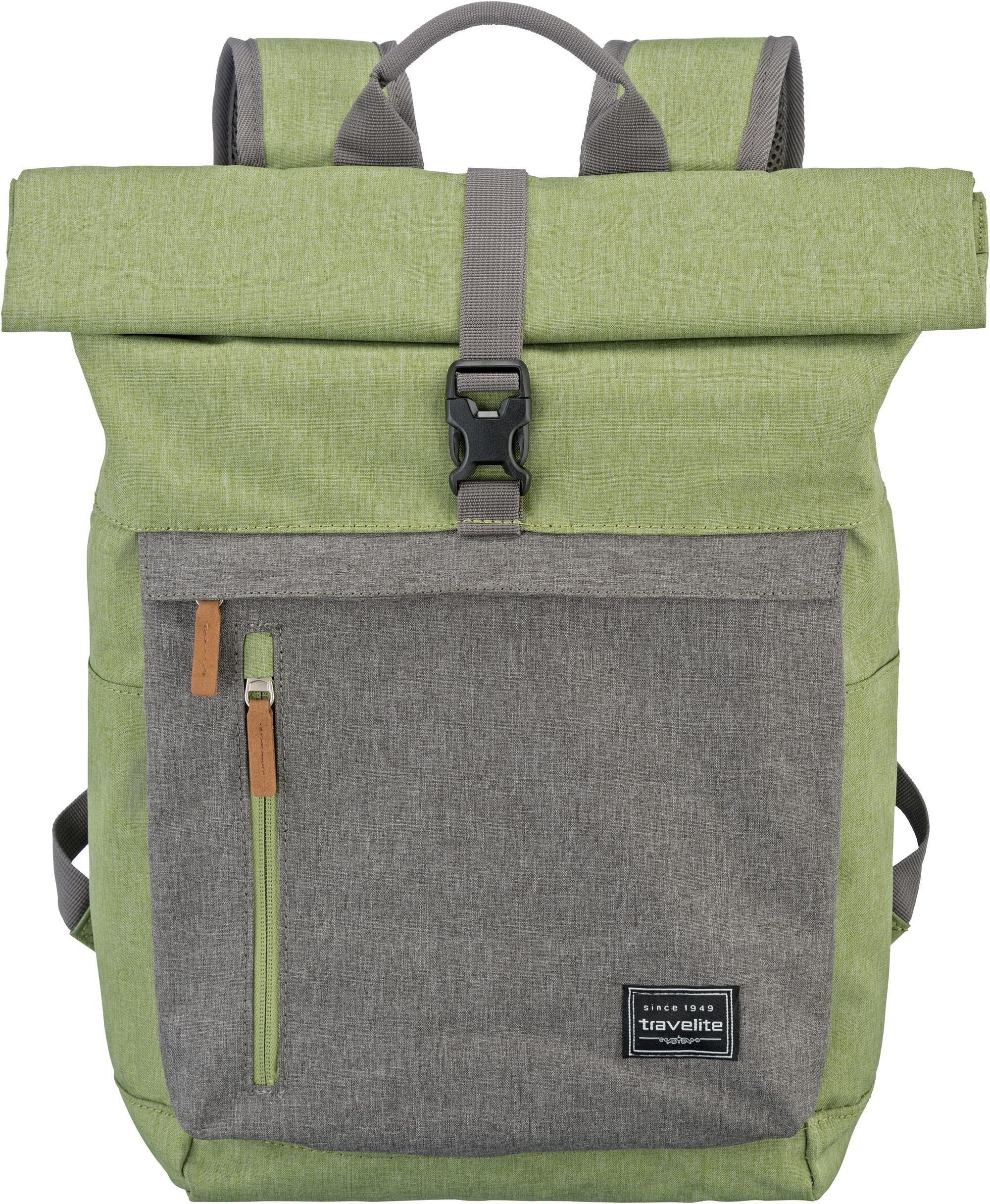 travelite Rucksack mit 15,6 Zoll Laptopfach, »Basics Rollup, Grün/Grau«