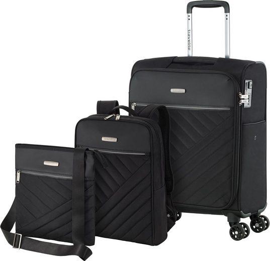 travelite Kofferset »Jade«, 4 Rollen, (Set, 3 tlg), mit Trolley, Rucksack und Umhängetasche