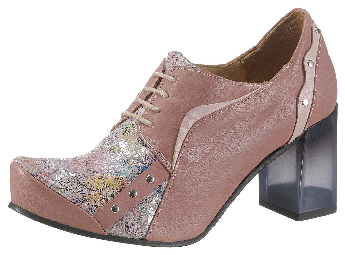Tiggers Schnürpumps mit schimmernden Blütenprint   Schuhe > Pumps > Schnürpumps   Rosa   Leder - Gummi   Tiggers